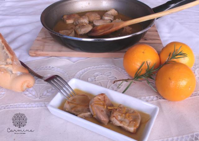 Solomillo con soja y zumo de naranja
