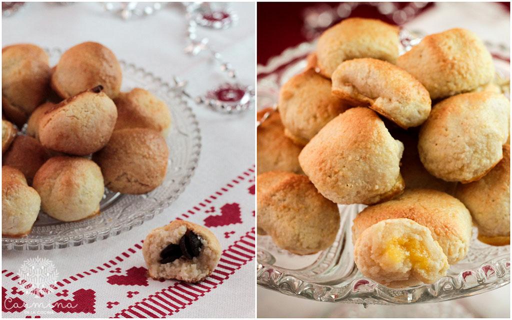 Glorias de Navidad rellenas de crema de yema y chocolate