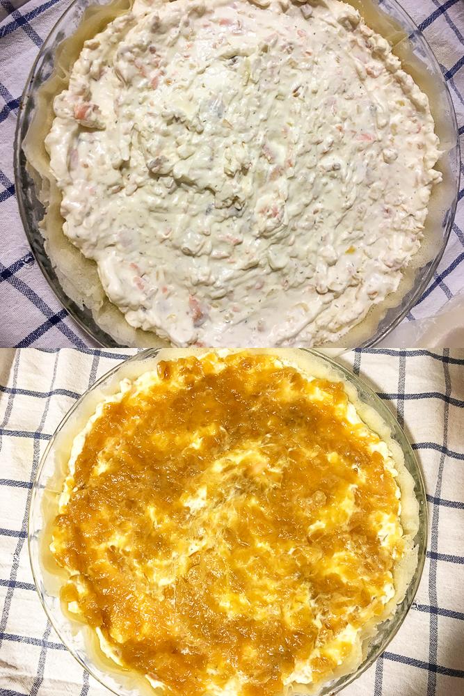 Tarta brick de salmón y cebolla caramelizada
