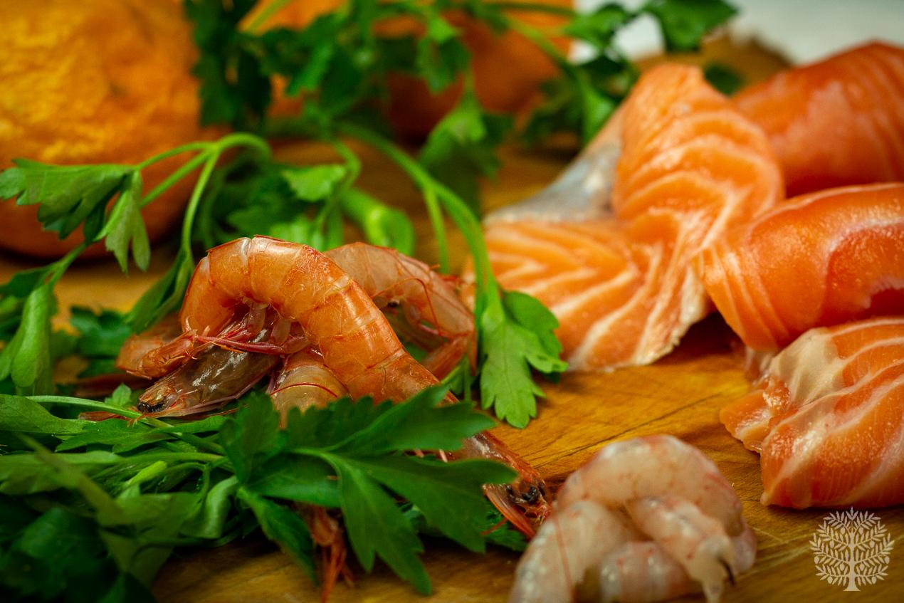 Popietas de salmón en salsa de naranja